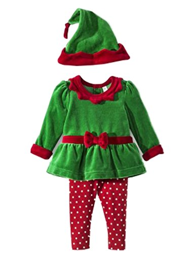 Cherokee Infant Girls Red & Green Elf Suit 3 Piece Set Christmas Outfit