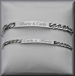 Engraved Silver His & Hers Thin ID Bracelet Set