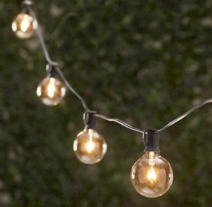 Spring Rose(TM) 50 Clear Patio String Globe Lights With Black Cord And 2 Extra Bulbs (Large Bulb String Lights)