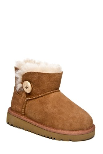 UGG Australia Infants' Mini Bailey Button Toddler Shearling Boots,Chestnut,10 Child US
