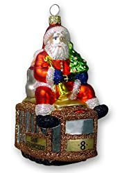 """Glass Christmas Ornament, """"Cable Car Santa"""", Exclusive Mold by MIA"""