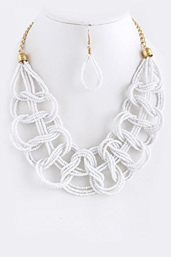 [TRENDY FASHION JEWELRY SEED BEAD LOOP NECKLACE SET BY FASHION DESTINATION | (White)] (Lobster Claw Costume Pattern)