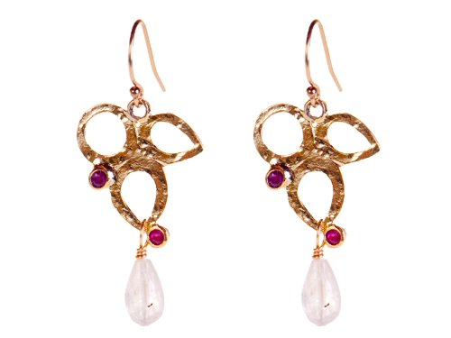 Gold Leaf Earrings with Moonstone and Ruby