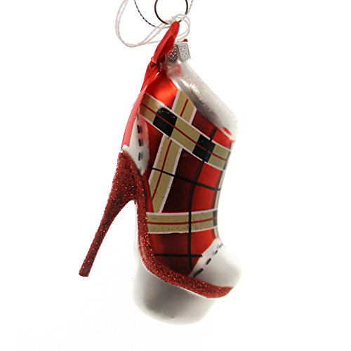 Holiday Ornaments PLATFORM BOOT Glass Plaid Stiletto Heel Nt57042842 Red