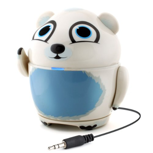 "GOgroove Portable Multimedia Polar Bear Speaker with Rechargeable Battery & Built-in 3.5mm Cord- Works with Dragon Touch 7"" , Orbo Jr. , Smartab STJR76PK 7'' & More Kids Tablets"