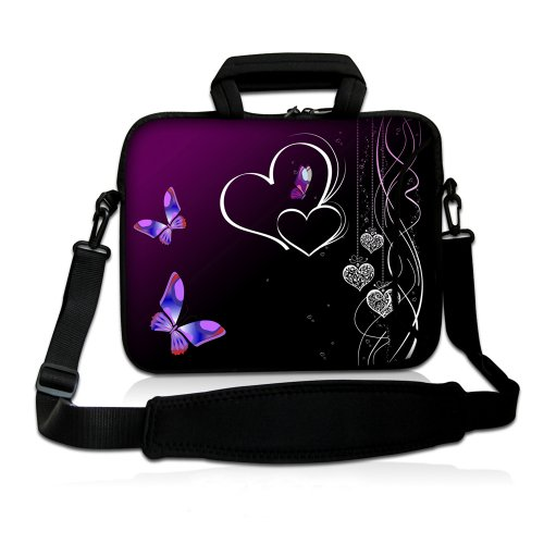 14 Inch Dancing Butterflies and Heart on Rich Purple DOUBLE Sided Print Design Dual Compartment Laptop Carrying Case Notebook Slipcase Bag Netbook Sleeve Cover   Detachable Padded Adjustable Shoulder Strap for McBook Dell HP EliteBook Sony VAIO Toshiba Picture