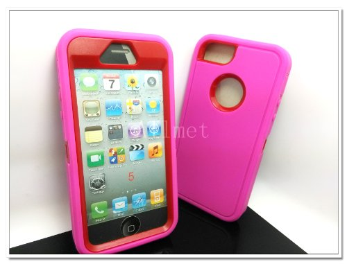 Review:  Multi Color Iphone 5 5S Body Armor Silicone Hybrid Cove Hard Case, Three Layer Silicone PC Case Cover for iPhone 5 5S (Hot Pink+Red)