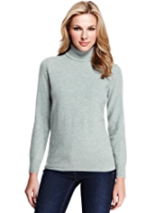 M&S Collection Pure Lambswool Polo Neck Jumper