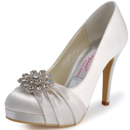 ElegantPark EP2015-PF Women's Closed Toe Platform High Heels Pumps Rhinestones Buckles Satin Evening Bridal Wedding Shoes Ivory US 8