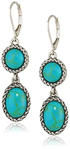 "NINE WEST VINTAGE AMERICA ""Subtle Splendor"" Worn-Silver and Turquoise Double Drop Earrings"
