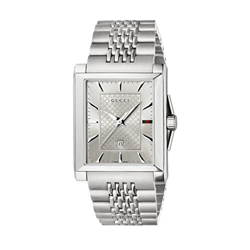 Gucci G- Timeless Rectangle Men's Quartz Watch with Silver Dial Analogue Display and Stainless Steel Bracelet YA138403