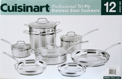 Cuisinart Professional Tri-Ply Stainless Steel Cookware (12 Piece Set)