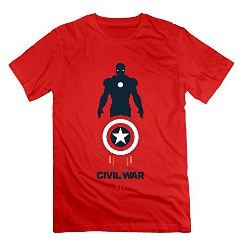 HaoQi Men's Captain America 2016 Civil War Tee M Red