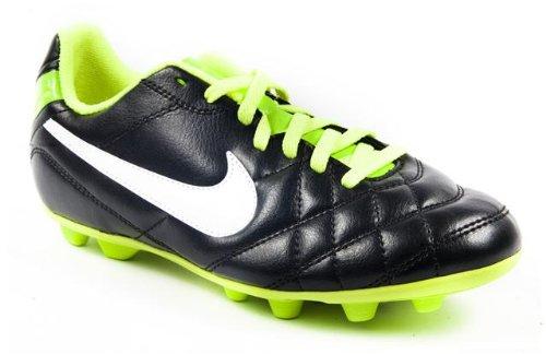Nike Tiempo Rio Teen Boys Black and Green Fixed Studs Football Boot