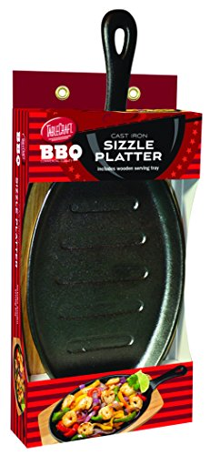 TableCraft BBQ117 BBQ Cast Iron 17-Inch Sizzle Platter with Wood Tray, Small, Black