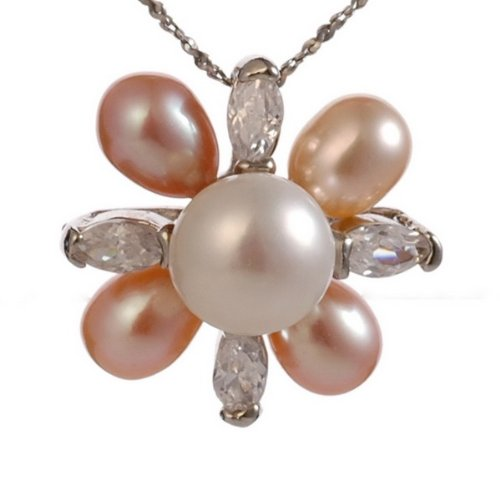 LovingtheBead © Freshwater Pearl & CZ Flower Pendant on a 16 inch base Metal chain