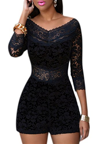 Womens Chic Lace Overlay V-Neck Party Romper