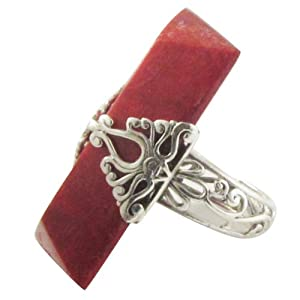 Huge Avant-garde Indonesian Red Coral Sterling Ring Adj 6-9 by Island+Silversmith