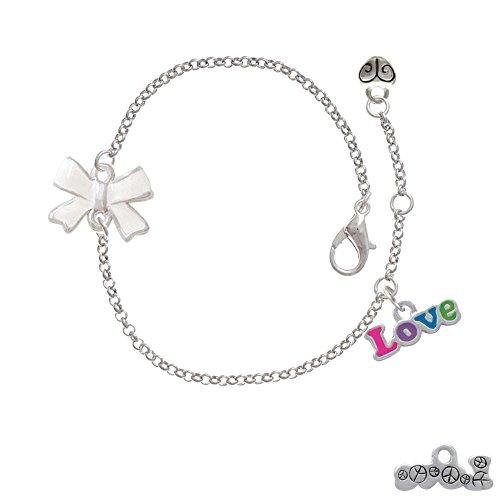 Rainbow Colored ''Love'' Delicate White Bow Bracelet