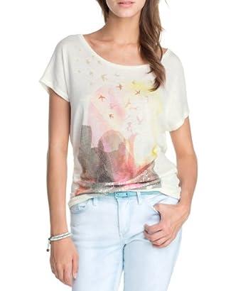 edc by ESPRIT Women's Crew Neck 1/2 Sleeve T-Shirt  - White - Weiß (128 broken white) - 8