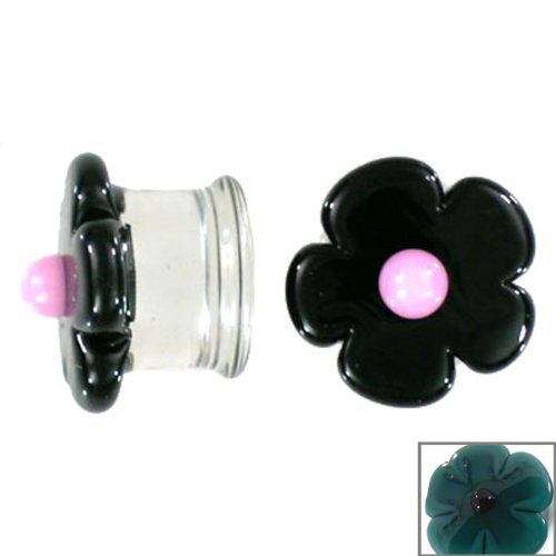 Aqua Cherry Blossom with Black Center Handmade Glass Plugs - Double Flare - 1/2