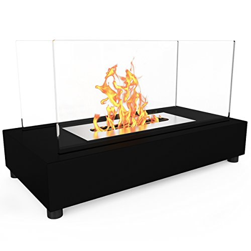 Elite Flame Avon Ventless Table Top Bio Ethanol Fireplace Black (Modern Flame Fireplace compare prices)