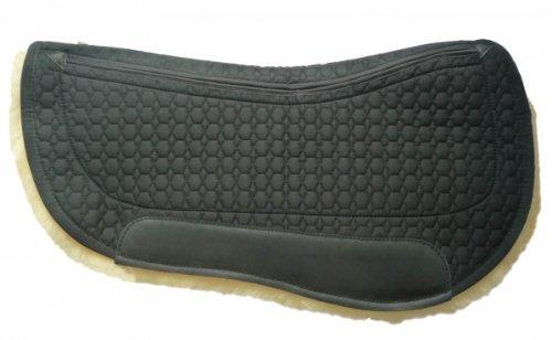 Mattes Lammfell Western Round Pad mit Eintaschen-Correction-System, Stoff: schwarz, Lammfell: natur Größe Long