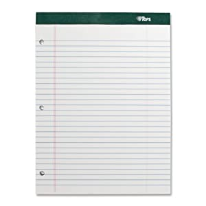 TOPS Double Docket Writing Tablet, 8-1/2 x 11-3/4 Inches, Perforated, White, Legal/Wide Rule, 100 Sheets per Pad, 6 Pads per Pack (63437)