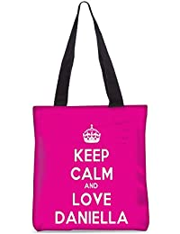 Snoogg Keep Calm And Love Daniella Fashion Printed Shopping Shoulder Lunch Tote Bag For Women