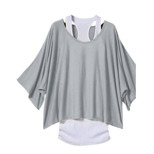 Guraio Ladies Sexy Off Shoulder T-Shirt 2 In 1 Batwing Sleeve Vest Loose Tops Shirt