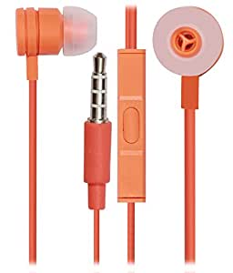 Jkobi 3.5mm In Ear Bud Handsfree Headset Earphones With Mic Compatible For Karbonn Fashion Eye -Orange
