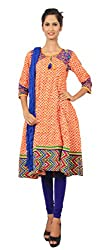 Rama Suit set of Multicolor Embroidery Anarkali with Blue Color Legging Duppatta.