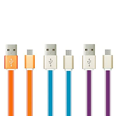 Micro USB Charger, OKRAY 3 Pack 3.3 ft High Speed Micro USB 2.0 Sync and Charge Data Cable Charging Cord for Android, Samsung Galaxy, HTC, Google Nexus, LG, Motorola, Nokia (Rose Pink Blue Green)