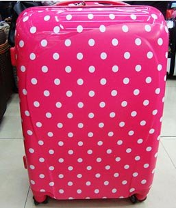 2 Pcs 24'' & 20'' Medium & Small, Hold & Cabin Size Hand Luggage Trolley Suitcase Set Polka Dots from TRAVEL CONCEPT