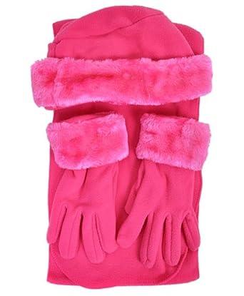 Cloche Fur Trim 3 Piece Fleece Hat, Scarf & Glove Women's
