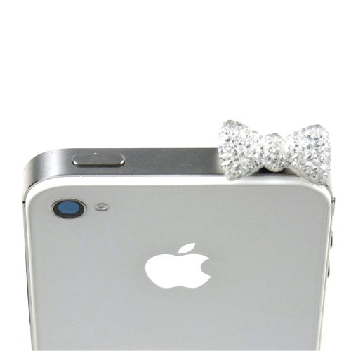 Javoedge Sparkle Bow Charm For Headphone Jack (Clear)