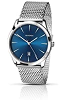Sekonda Men's Quartz Watch with Blue Dial Analogue Display and Silver Stainless Steel Bracelet 106527