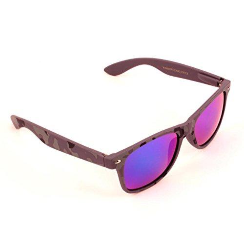 Grey Camouflage Soft Touch Wayfarer Sunglasses Ice Blue Glacier Iridium Lens