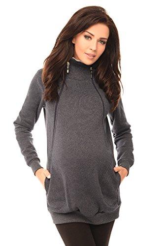 Purpless Maternity 2in1 Pregnancy and Discreet Nursing Hoodie with Zips 9052 (12, Navy Melange)