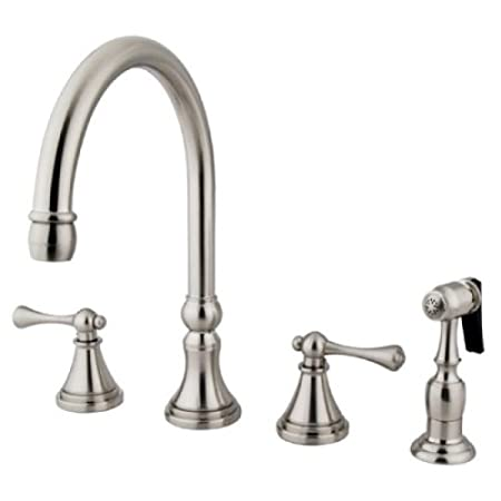 Kingston Brass KS2798BLBS 8-Inch Deck Mount Kitchen Faucet With Brass Sprayer, Satin Nickel
