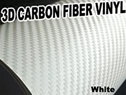3D Texture Carbon Fiber Sticker Vinyl Flexible Decal Film Wrapping Sheet (White) For HONDA CRX