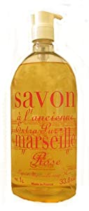 La Compagnie De Provence Marseille French Rose Liquid Soap 33.8 Fl.Oz. With Pump From France