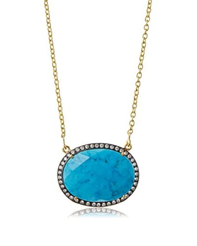 Liv Oliver 18K Gold Plated Turquoise and CZ Oval Necklace