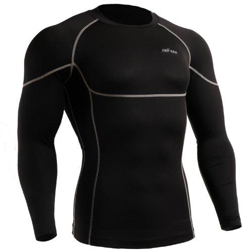 emFraa Men Women Skin Tight Spandex T Shirt Running Black Top Longsleeve S ~ XL