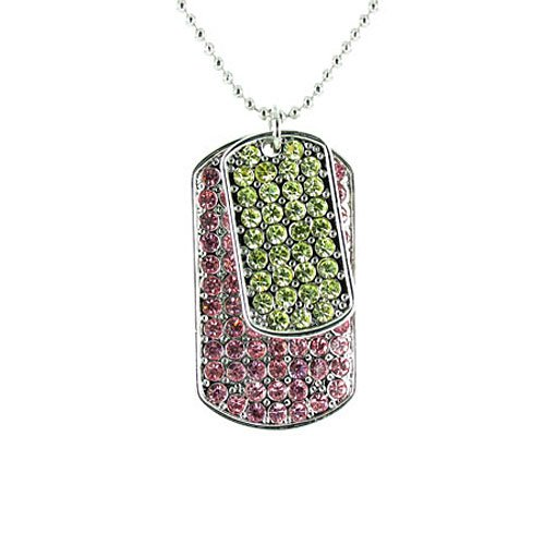 Pink and Yellow on Silver Plated Bling Dog Tag Necklace