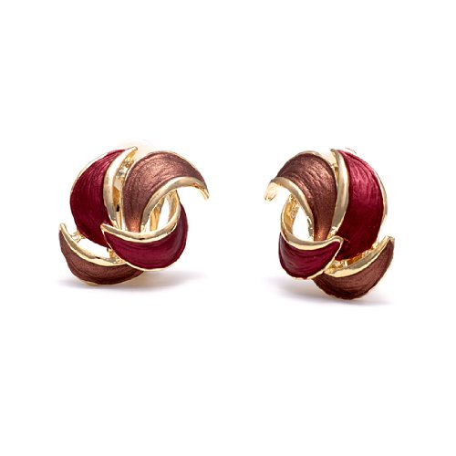 Rodney Holman Red and Pink Gold Plated Twisted Petal Clip On Earrings