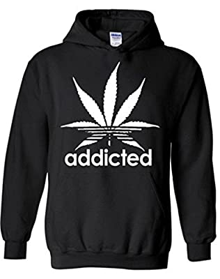 icustomworld Addicted White Leaf Hoodie Weed Marijuana Hooded Sweatshirts