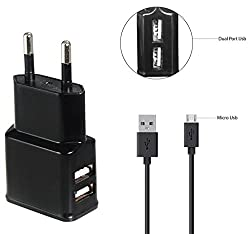 Micromax Bolt A066 Compatible Fast Adaptive Charger / Wall Charger / Travel Charger / Mobile Charger / Charger Dual USB Port With 1 M/ meter USB cable - (2 Ampere Genuine Output) Black