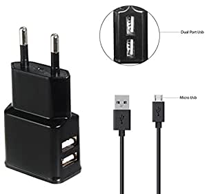 Nokia 800c Compatible Fast Adaptive Charger / Wall Charger / Travel Charger / Mobile Charger / Charger Dual USB Port With 1 M/ meter USB cable - (2 Ampere Genuine Output) Black