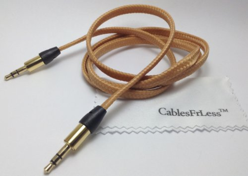 Cablesfrless (Tm) 3Ft 3.5Mm Flat Braided Auxiliary Aux Cable (Tan)